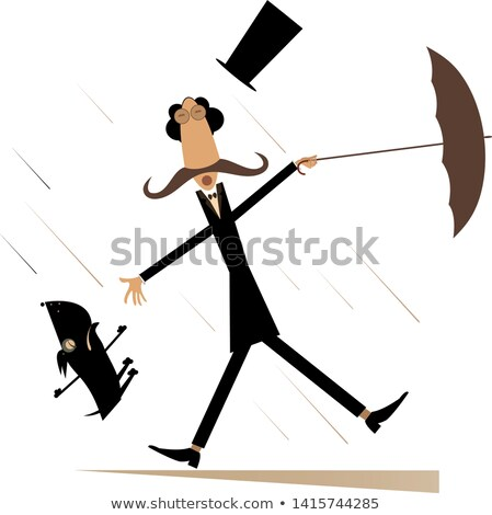 Strong wind, mustache man in the top hat with umbrella and a dog illustration Stock photo © tiKkraf69