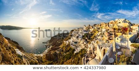 szélmalom · naplemente · Santorini · rózsaszín · narancs · retro - stock fotó © vwalakte