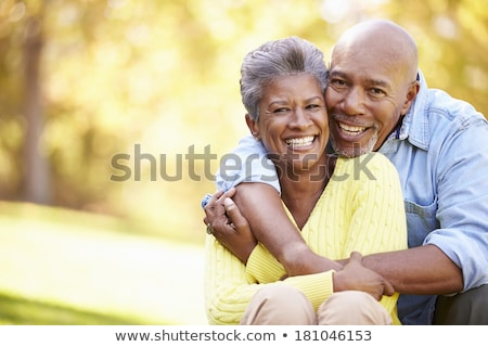 Senior couple outdoors smiling to camera Stock photo © IS2