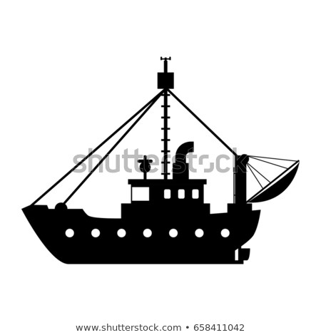 Commercial fishing trawler isolated on white icon stock photo © studioworkstock