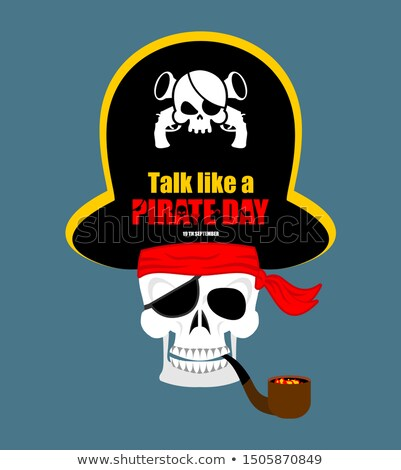 Skull Pirate portrait in hat. Eye patch. filibuster cap. skeleto Stock photo © popaukropa