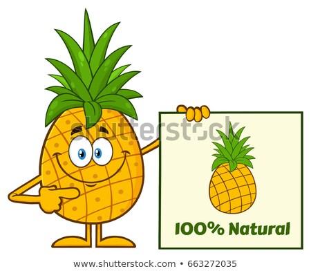 улыбаясь ананаса фрукты зеленый мультфильм талисман характер Сток-фото © hittoon