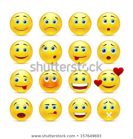 Geel · glimlach · gelukkig · ontwerp · retro - stockfoto © hittoon