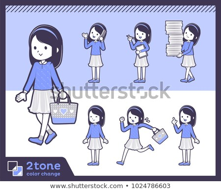Stock photo: 2tone type Blue clothes headband girl_set 02