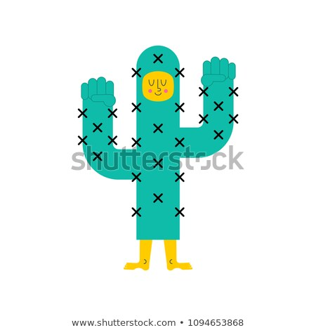 Strong cactus. Powerful plant is desert. Vector illustration Stock photo © popaukropa