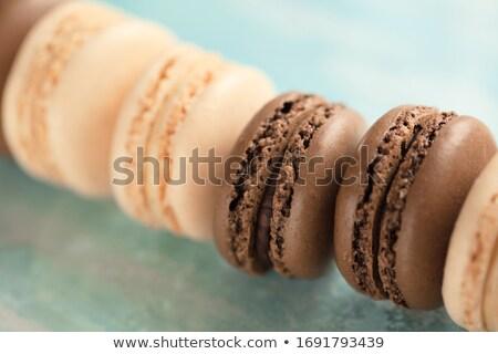 Foto stock: Francés · frambuesa · macarons · menta · hojas · edad