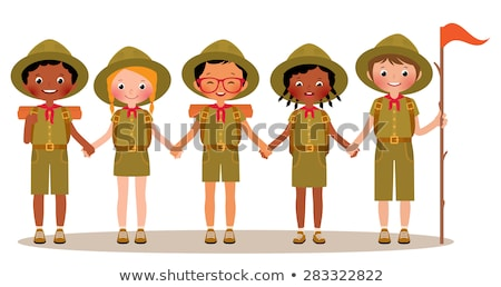 Sorridente menina escoteiro isolado ilustração jovem Foto stock © robuart