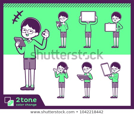 2tone type Green clothing glasses boy_set 06 Stock photo © toyotoyo