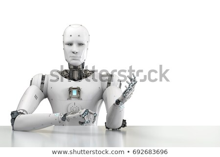 Cyborg at work in table. Office robot. Artificial Intelligence.  Stock photo © MaryValery