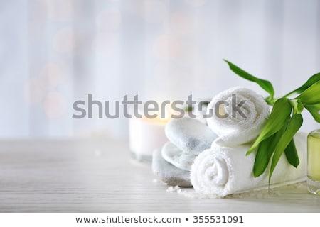 spa · bien-être · savon · blanche · serviettes · fleurs - photo stock © Lana_M