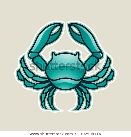persian green glossy crab or cancer icon vector illustration stock photo © cidepix