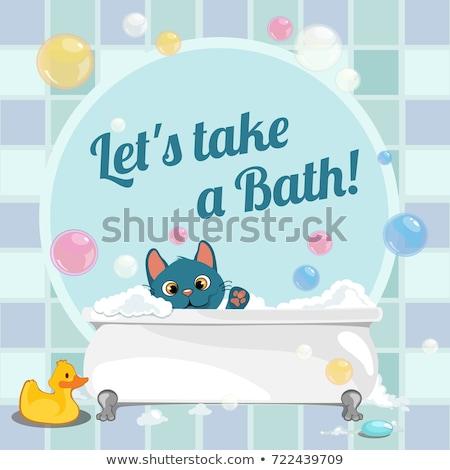 Aranyos poszter úszás fürdőkád kiscica vektor Stock fotó © Lady-Luck