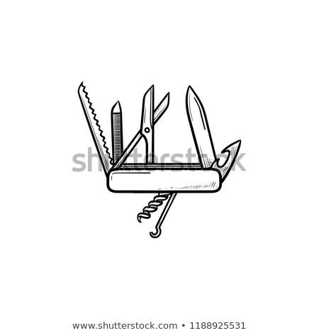 csavar · kézzel · rajzolt · rajz · ikon · vektor · skicc - stock fotó © rastudio