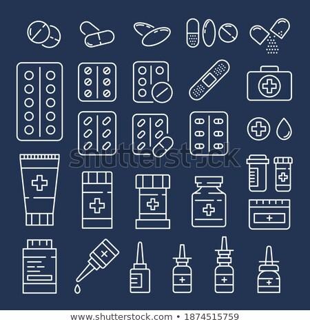 Kenőcs csövek hólyag szett címke tabletták Stock fotó © robuart