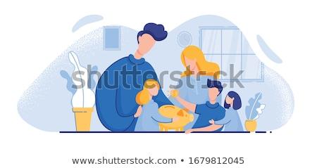 Filho pai planejamento família orçamento Foto stock © robuart