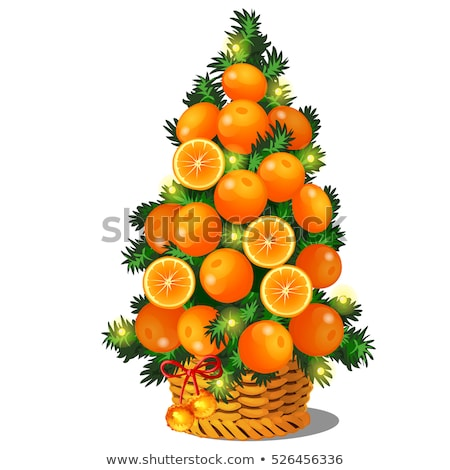 Cartoon topiary in the form of a cone Christmas tree with oranges. Sketch for greeting card, festive Stock photo © Lady-Luck