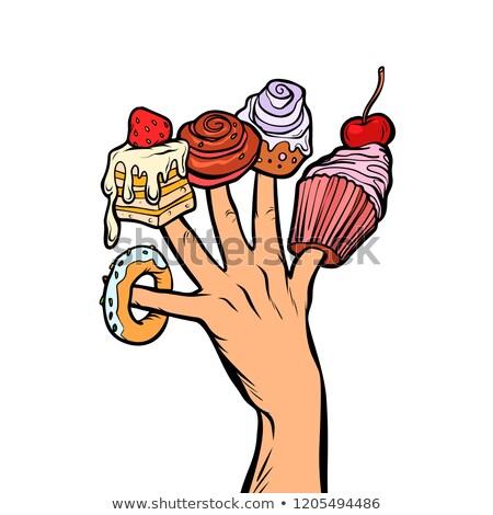 şekerleme kek tatlı çörek hatmi parmaklar Stok fotoğraf © studiostoks