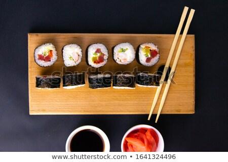 Stok fotoğraf: Sushi · ayarlamak · farklı · ahşap