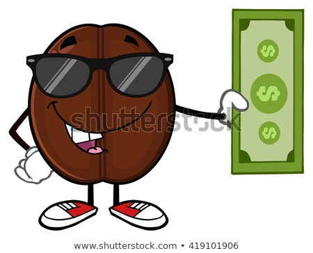 Coffee Bean Cartoon Mascot Character With Sunglasses Holding A Dollar Bill Stock photo © hittoon