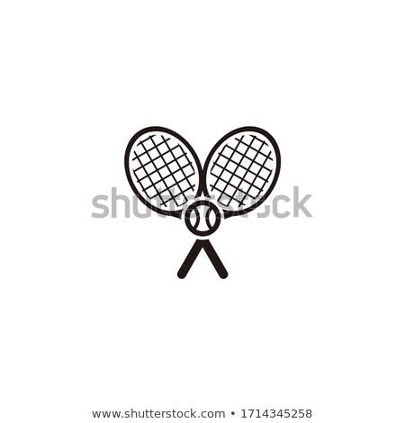 Stock fotó: Crossed Racket And Tennis Ball Logo Design Green Label
