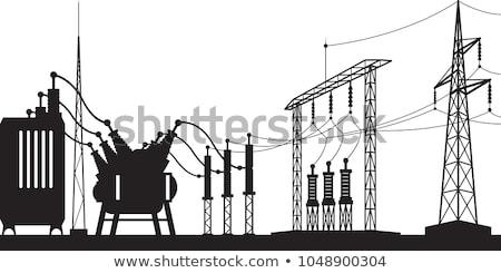 elektromos · transzformátor · vektor · sziluett · kicsi · technológia - stock fotó © pedrosala