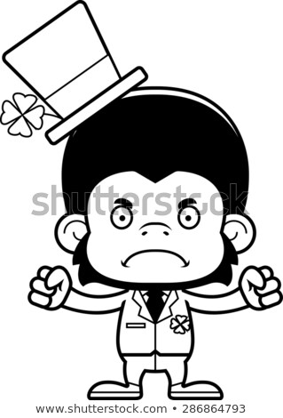 Rajz mérges ír csimpánz néz lóhere Stock fotó © cthoman