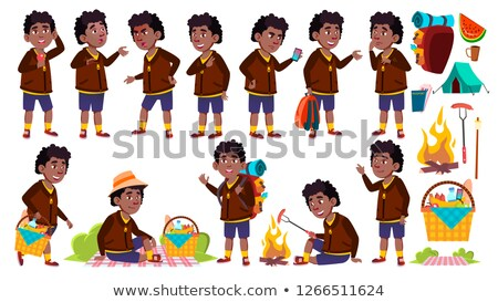 Boy Schoolboy Kid Poses Set Vector. Primary School Child. Black. Afro American. Picnic, Summer Rest. Stock photo © pikepicture