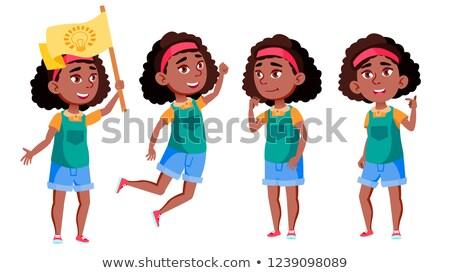 Afro amerikan kız ayarlamak vektör siyah Stok fotoğraf © pikepicture