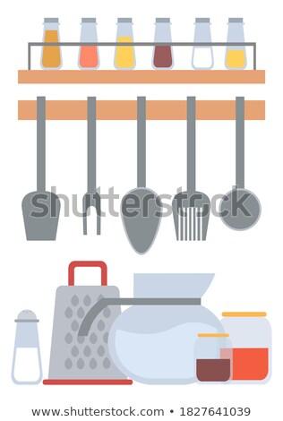 aço · inoxidável · churrasco · churrasco · grelha · brilhante · metal - foto stock © robuart