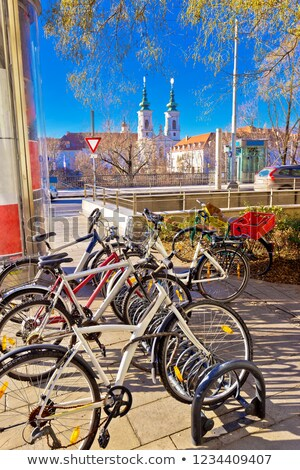 City of Graz bicycles by the Mur river colorful view stock photo © xbrchx