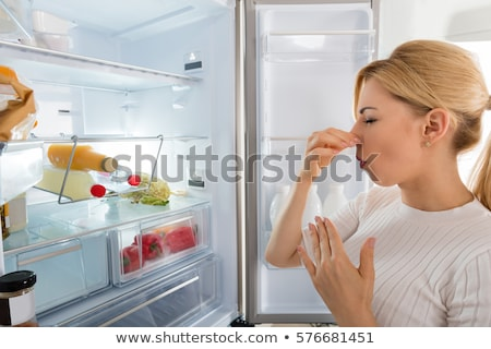 Kobieta złe zapach lodówce widok z boku młoda kobieta Zdjęcia stock © AndreyPopov