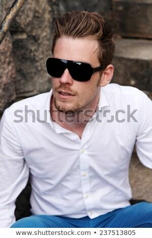 Portret moda człowiek okulary Zdjęcia stock © feedough