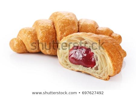 Gebakken croissants aardbei jam keuken voedsel Stockfoto © homydesign