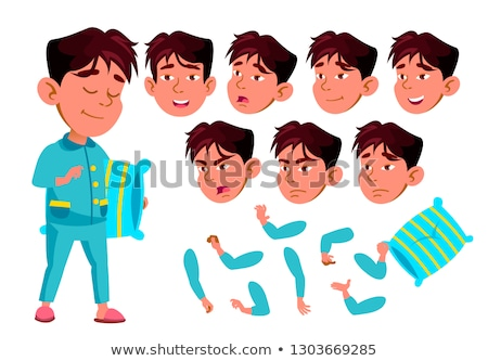 Asian Boy, Child, Kid, Teen Vector. Schoolchild. Lecture. Face Emotions, Various Gestures. Animation Stock photo © pikepicture