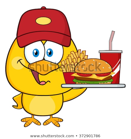 Happy Yellow Chick Cartoon Character Wearing A Baseball Cap And Holding A Fast Food Tray Stock photo © hittoon