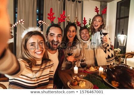familia · feliz · toma · Navidad · cena · vacaciones · familia - foto stock © dolgachov