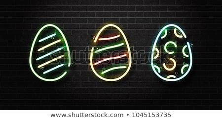 Easter egg hunt neon mevsimlik tatil tanıtım ışık Stok fotoğraf © Anna_leni