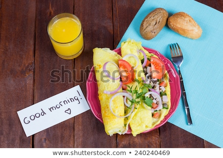 Goedemorgen banner pannenkoeken helling witte Stockfoto © adamson