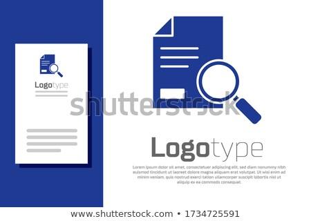 azul · documento · pesquisar · ícone · isolado · branco - foto stock © kyryloff