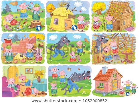 set of fairy tale house in forest stock photo © bluering
