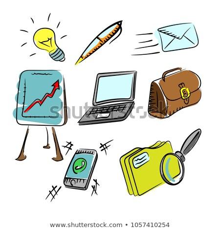Kleur schets aktetas icon web mobiele Stockfoto © netkov1