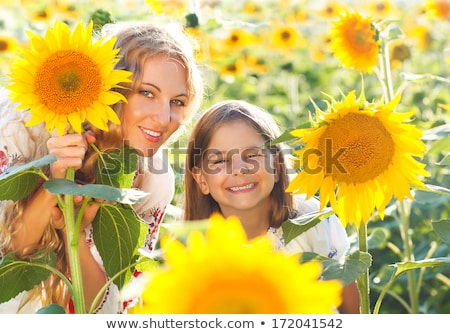 mother and her little daughter in the sunflower field stock photo © dashapetrenko