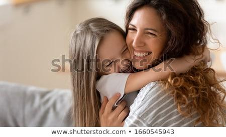 Boldog fiatal nő gyerekek kanapé otthon számítógép Stock fotó © Lopolo