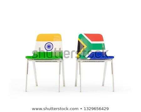 Zwei Stühle Fahnen Indien Südafrika isoliert Stock foto © MikhailMishchenko