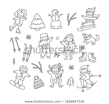 Child Skiing with Sticks in Hands, Winter Skating Stock photo © robuart