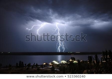 Yıldırım gece örnek manzara sokak arka plan Stok fotoğraf © colematt