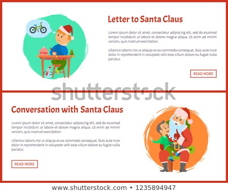Merry Christmas Kid Telling Dreams to Santa Claus Stock photo © robuart