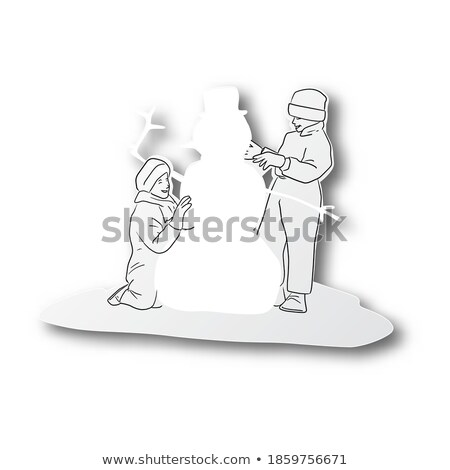 Christmas Paper Cut Two White Buildings Vector Stock photo © robuart