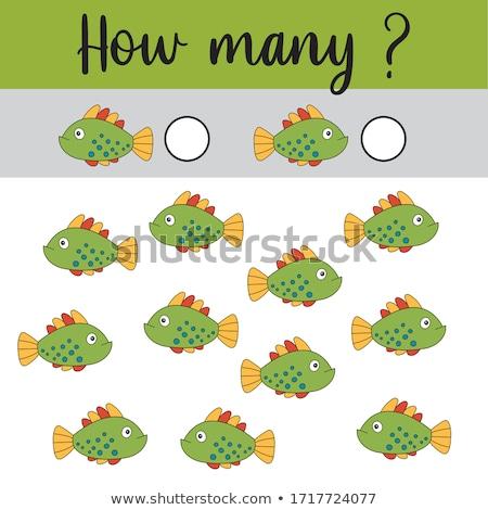Counting fish math worksheet Stock photo © colematt