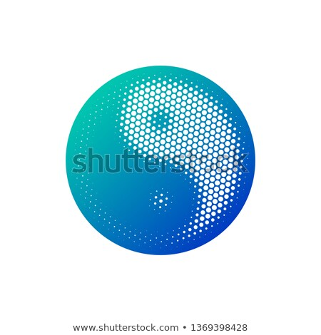 Halftone round Yin Yang icon in blue gradient. Vector illustration isolated on white background Stock photo © kyryloff